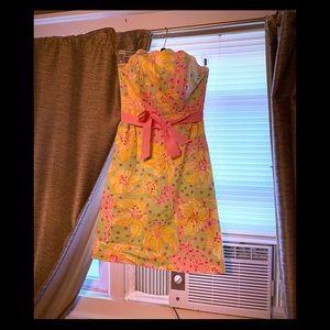 Vintage Lilly Pulitzer Strapless Dress Size 0